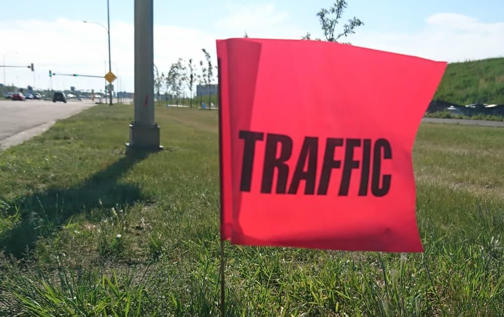 Marking underground utility lines just outside Edmonton, AB