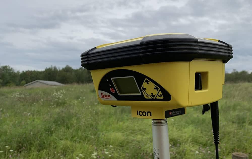 Leica 60 RTK GPS being used near Camrose, Alberta